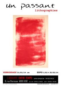 affiche expo Entre Temps un passant 31 01 au 25 02 2014